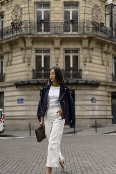 Blue Suede Jacket & White Denim in Paris | Song of Style