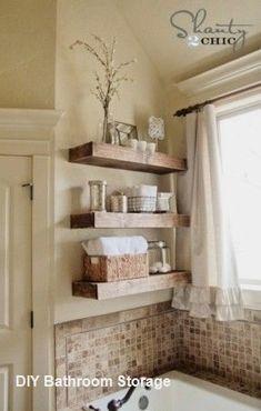 17 diy space-saving bathroom shelves and storage ideas - shelterness Floating Corner Shelves, Rustic Floating Shelves, Floating Wall, Regal Bad, Space Saving Bathroom, Small Bathroom, Wooden Bathroom, Bathroom Pink, Master Bathrooms