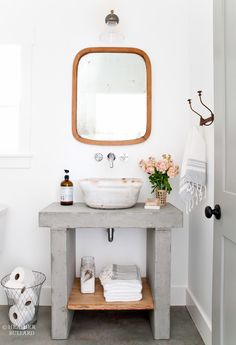 DIY Sink Project: Purchase Vessel Sink and a vintage/thrift table.