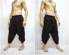 Samurai pant | Black Samurai Pants, Trouser, Baggy pants, Yoga 100% Cotton(Unisex ...