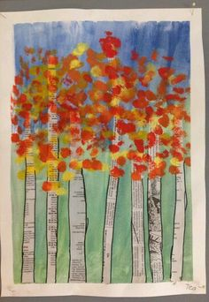 Resultado de imagen de fall art projects for elementary students Autumn Crafts, Fall Crafts For Kids, Autumn Art, Art For Kids, Autumn Trees, Fall Art Projects, School Art Projects, Kindergarten Art, Preschool Art
