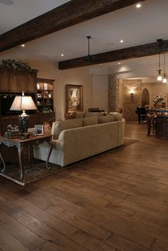 """Tuscany™ Collection 6-3/4"""" (17 cm) wide, Vintage French Oak hardwood floor, smooth face, hand beveled, hand distressed, dyed and stained in custom Bronze color, pre-finished with Hard-wax Oil."""