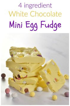 This Mini Egg White Chocolate Fudge recipe makes a fun homemade gift idea for Easter - just 4 ingredients and 5 minutes to prep this easy chocolate fudge Easter Snacks, Easter Treats, Easter Recipes, Easter Food, Easter Gift, White Chocolate Fudge, Mini Eggs, Easy Meals For Kids, Fudge Recipes