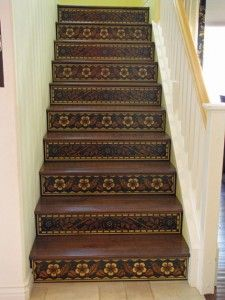 Stenciled Stair Risers 2
