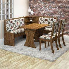 Conjunto para Sala de Jantar Kiara 2 Cadeiras Avelã/Primavera, Viero - Shopfato