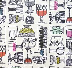 Kippis Wall Covering Fun Black and White illustrated wall covering depicting assorted glass design with vibrant shocks of Fuchsia, Yellow and Aqua.