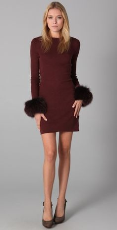 Alice + Oliva Fur Cuff Dress I must have this for winter!