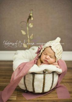 Crochet Newborn Baby Vintage Pixie Bonnet Hat  by HWBKBoutique, $19.95