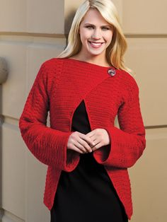 Crochet - Crochet Clothing - Cardigan Patterns - Ravishing in Red Wrap Cardigan
