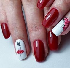 Ballerina Nails Acrylic Nail Designs Make You Elegant for New Year - Styles Art Red And White Nails, Red Nails, Hair And Nails, Red Manicure, Mani Pedi, Best Nail Art Designs, Acrylic Nail Designs, Acrylic Nails, Coffin Nails