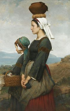 """Emile-Auguste Hublin """"Le Chemin du Marché, Finistère"""" 1878 by Art & Vintage"""