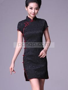 Black Short Cheongsam / Qipao / Chinese Party Dress [QP0088] - $71.00 : Chinese Cheongsam & Qipao Online Shop, Panqp.com