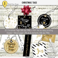 Christmas Tags Black White and Gold Mini Kit by Racheletrogdesigns