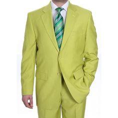 Neón brillante verde Dos Trajes Botón para Hombres en 139 dólares