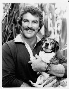 Tom Selleck holding an adorable puppy dog. Tom Selleck, John Hillerman, Most Handsome Actors, Handsome Man, White Toms, Magnum Pi, Pierce Brosnan, Cinema, Blue Bloods
