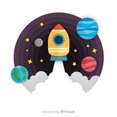 Descarga gratis vectores de Composición de cohete moderno con diseño plano Space Party, Space Theme, Astronaut Illustration, Illustration Art, Astronaut Party, Design Plano, Photoshop Pics, Scratch Art, Painting For Kids