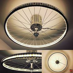 LED strip upcycling lamp. Lightning in our upper hallway. Upcycled bicycle rim with LED stripe (5m length) and IKEAhack for AC transformer.