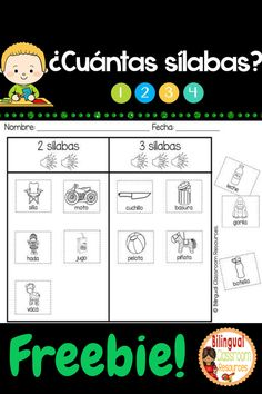 FREE!! How Many Syllables? Worksheets in Spanish- ¿Cuántas sílabas? will provide the opportunity to practice sorting different words by one, two, three and four syllables. Students will count and then sort the picture cards by the number of syllables… Reading Fluency, Reading Strategies, Spanish Language Learning, Teaching Spanish, Learning Resources, Kids Learning, Teacher Resources, Bilingual Kindergarten, Bilingual Classroom
