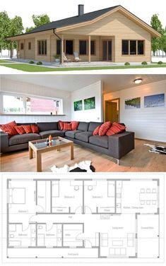 Single story home plan, floor plan, small house design