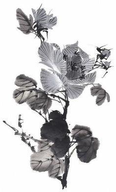 [수묵화 기법] 수묵채색화 기법 ... 꽃(花) 수묵화의 다양한 기법이 잘 표현된 다양한 꽃 그림. 선의 굵기나 먹의 농담, 번짐, 덧칠효과 등을 눈여겨 보면서 감상면 그 표현방법의 차이를 더 잘 느끼실 수 있다.