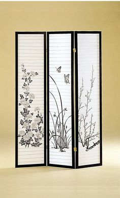 3 Panel Japanese Oriental Style Room Screen Divider $82.99