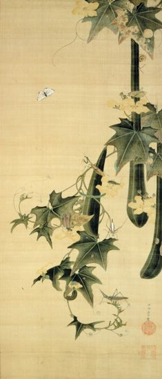 Snake-gourds and insects - Ito Jakuchu, Edo period, 18tth century hanging scroll, color and silk