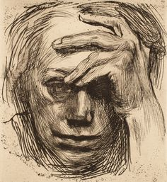 Kathe Kollwitz Self-portrait with Hand on Brow, etching 1910 Love Drawings, Art Drawings, Drawing Portraits, Self Portrait Drawing, Figure Drawing, Painting & Drawing, Kathe Kollwitz, L'art Du Portrait, Drypoint Etching