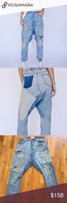 Free People Blazing Summer patchwork harem Jeans Free People Blazing Summer Harem Jeans $168.00 - NWT- sz 25 - patchwork, frayed, destroyed, Embroidered bird, shadow pocket - totally unique. Price is firm Free People Jeans Boyfriend