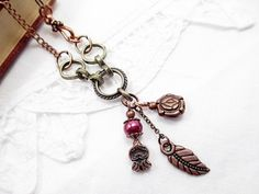 Valentine's Copper Lariat Necklace Beaded by LittleBitsOFaith, $27.00