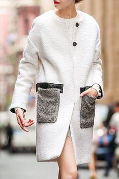 Double Pockets White Wool Coat
