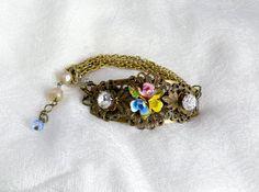 Austrian Enamel Floral Vintage Bracelet! Bridal Delight!