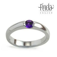 bcc95f5cbd Minimal nemesacél gyűrű ametiszttel Promise Rings, Karikagyűrűk, Eljegyzési  Gyűrűk, Évfordulós Ajándékok