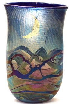 Sun and Moon vase, 30 cm high, back side by Michael Harris