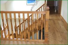 Berriew Provincial Softwood Staircase Oak Handrail, Metal Spindles, Banisters, Refurbishment, Glass Panels, Landing, Stairs, Home Decor, Restoration