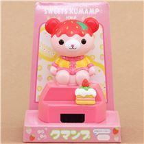 strawberry cake bear solar powered bobble head toy from Japan