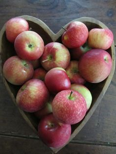 Apples in a heart mold ~ Apple Crisp With Apple Skins Recipe.