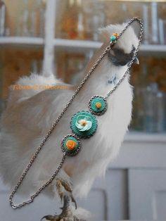 Headband Bijou de cheveu Bohème Fleurs de printemps - Fleurs Céramique et résine - Pastilles crochetées main - Estampes
