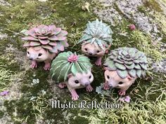 Garden Succulent Hedgehogs Handmade Ooak Polymerclay Animal Plant Pals sculpture by Mystic Reflections