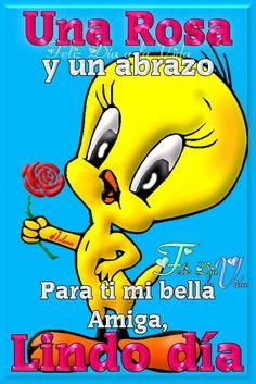 Una Rosa y un Abrazo para ti mi bella amiga Lindo día