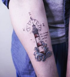Lighthouse, Compass, Waves and Quote Tattoo by Vitaly Kazantsev