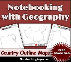 60 Free Country/Province Outline Maps + 50% Off Coupon to NotebookingPages.com