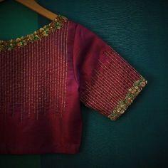 New embroidery blouse indian wedding dresses ideas Pattu Saree Blouse Designs, Blouse Designs Silk, Bridal Blouse Designs, Blouse Patterns, Pattern Blouses For Sarees, Simple Blouse Designs, Stylish Blouse Design, Blouse Simple, Cochin