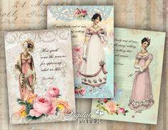 Jane Austen - Dream Garden - digital collage sheet - set of 6 - Printable Download