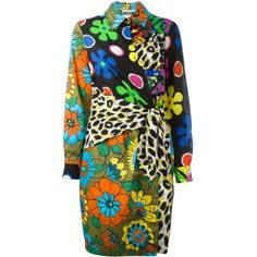 Moschino wrap front shirt dress (1,877 CAD) ❤ liked on Polyvore featuring dresses, multicolor, button front shirt dress, floral print dress, leopard print dress, long shirt dress and colorful dresses