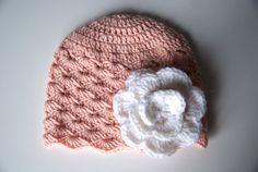 Baby hat crochet peach newborn baby beanie newborn by BambinoStore
