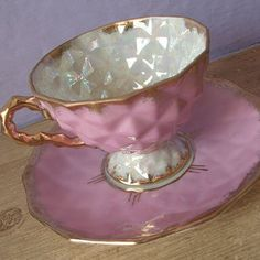 vintage pink lustreware tea cup and saucer set, 1950's Japanese, faceted, pearl iridescent, gold