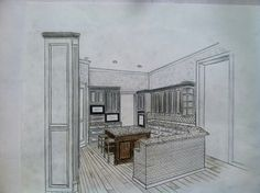 Architectural rendering art by ed mestyanek (kitchen design by Euro Design Build Remodel )