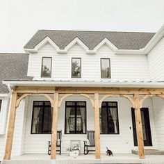 Farmhouse front porch posts now its a bright outdoor living room Front Porch Posts, Front Porch Columns, Farmhouse Front Porches, Front Porch Design, Rustic Farmhouse, Cedar Porch Posts, Porch Beams, Rustic Porches, Farmhouse Outdoor Decor