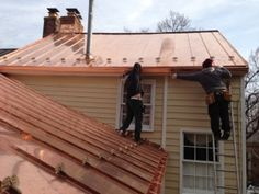 copper gutters on standing seam copper roof Copper Gutters, Copper Roof, Metal Roof, Copper House, Roof Design, Tile Design, House Design, Standing Seam Roof, How To Install Gutters