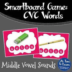 CVC Words: Middle Vowel Sounds Game for Smartboard/Promethean Board!